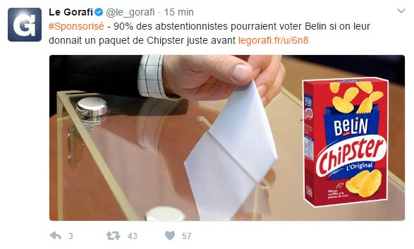 Publicité native : exemple du Gorafi
